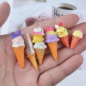 Image 2 - Boneca re mento em miniatura, 8 peças, brinquedos de fingir, mini, resina, sorvete, jogar, comida para blyth bjd barbies casa de bonecas brinquedos de cozinha