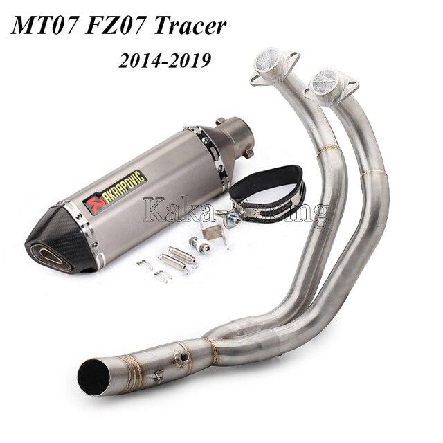MT07 FZ07 Akrapovic Exhaust Muffler Escape moto Full Slip-On system For Yamaha MT-07 FZ-07 2013 2014 2015 2016 2017 2018 2019