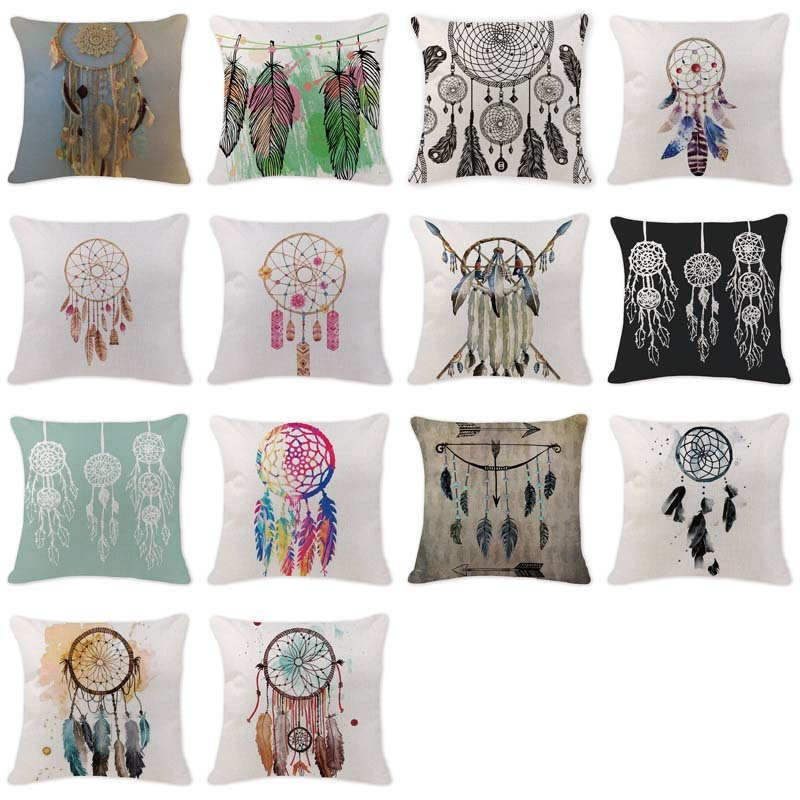 High Quality Cushion Covers Dream Catcher Pillow Covers Girls Car Large Cotton Linen Home Decorative White Throwpillow Covers