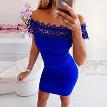 Kimuise lace sexy slash neck party women dress short sleeve mini bandage tunic slim robe female vestidos 2019 summer