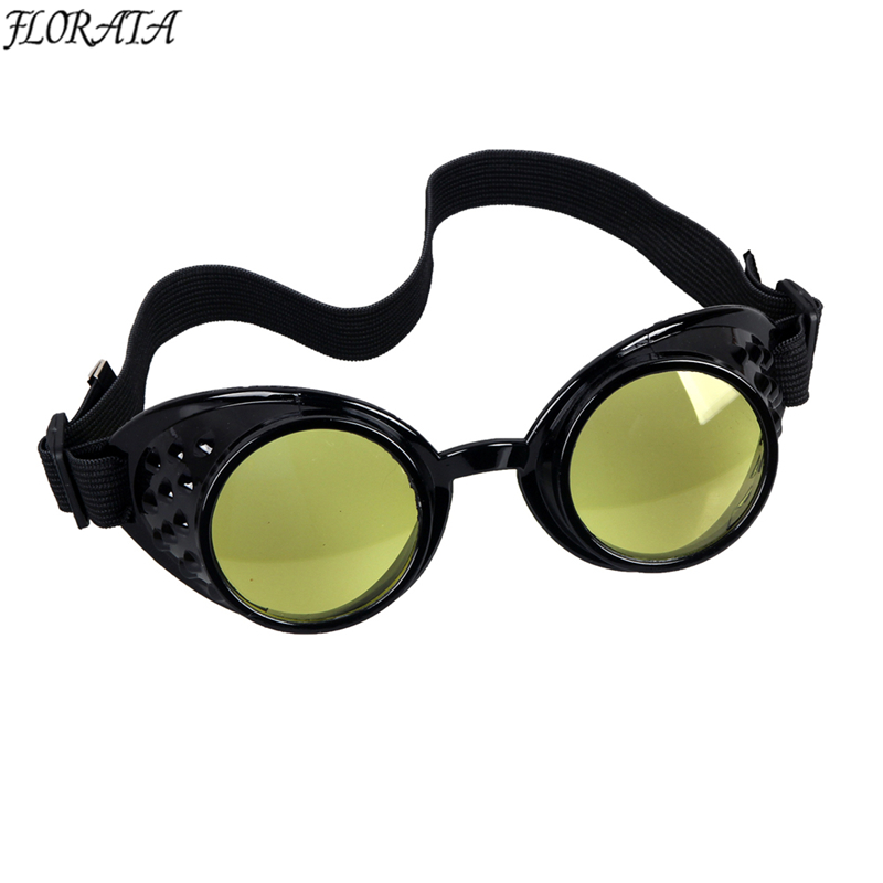 6cdb0bcd0ce Black Frame 8 Colors Lenses Vintage Steampunk Goggles Glasses Welding Cyber  Punk Gothic Cosplay Free Shipping