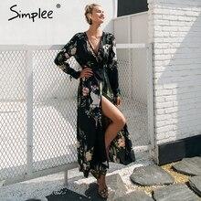 Simplee Floral print cranes strap kimono Women blouse vintage kimono cardigan  2018 Spring long sleeve blouse shirt femme