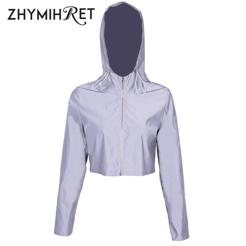 Image 5 - ZHYMIHRET 2019 Spring New Reflective Female Jacket Casual Sport  Hooded Short Coat Women Crop Top Casaco Feminino Manteau Femme-in Jackets from Women's Clothing