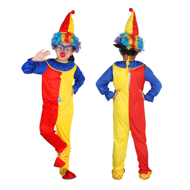 Children Baby Clown Jumpsuits & Rompers+Hat+Nose Halloween Carnival Clown Circus Cosplay Costumes Performance Clothing Party