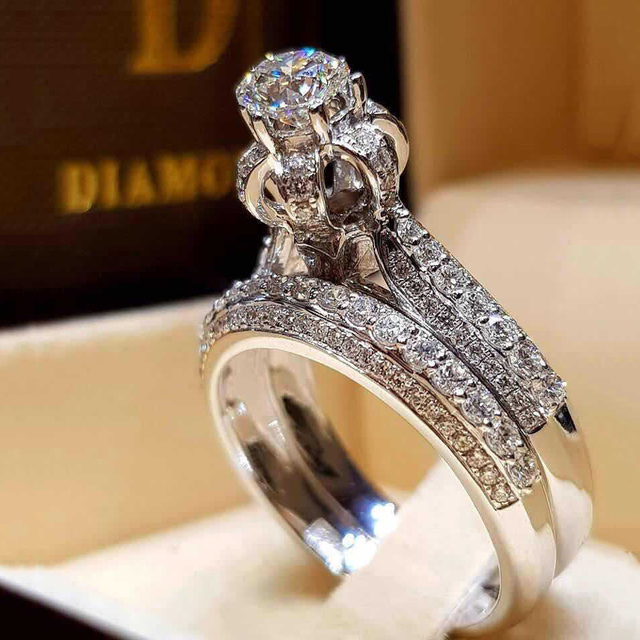 Crystal White Engagement Rings for Women