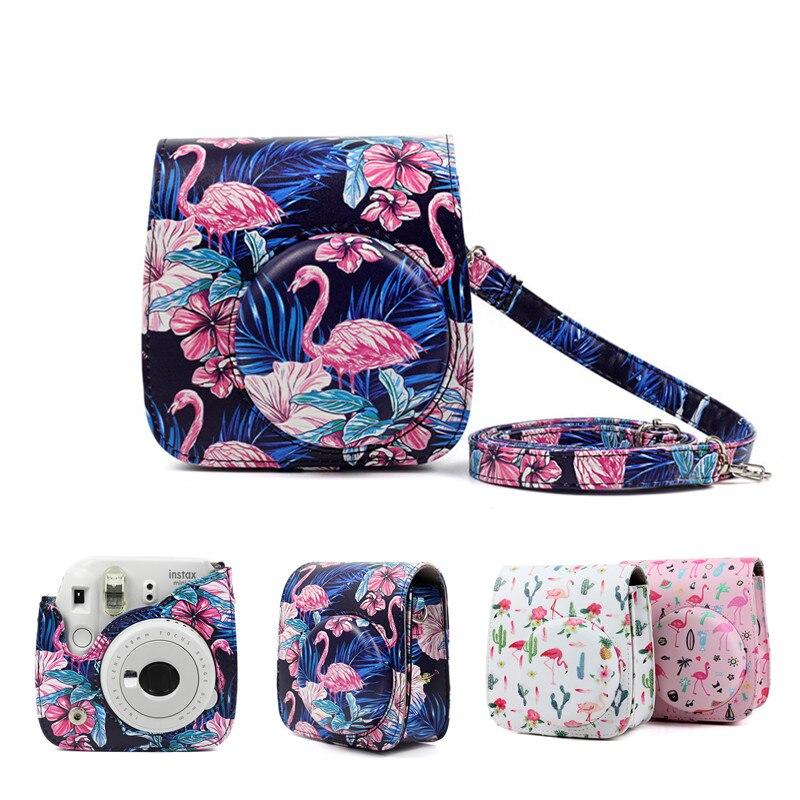 HEONYIRRY de cuero de la PU cubierta de la caja del bolso con correa de hombro para Fujifilm Instax Mini 9 Mini 8 Mini 8 + instantánea película de cámara de fotos