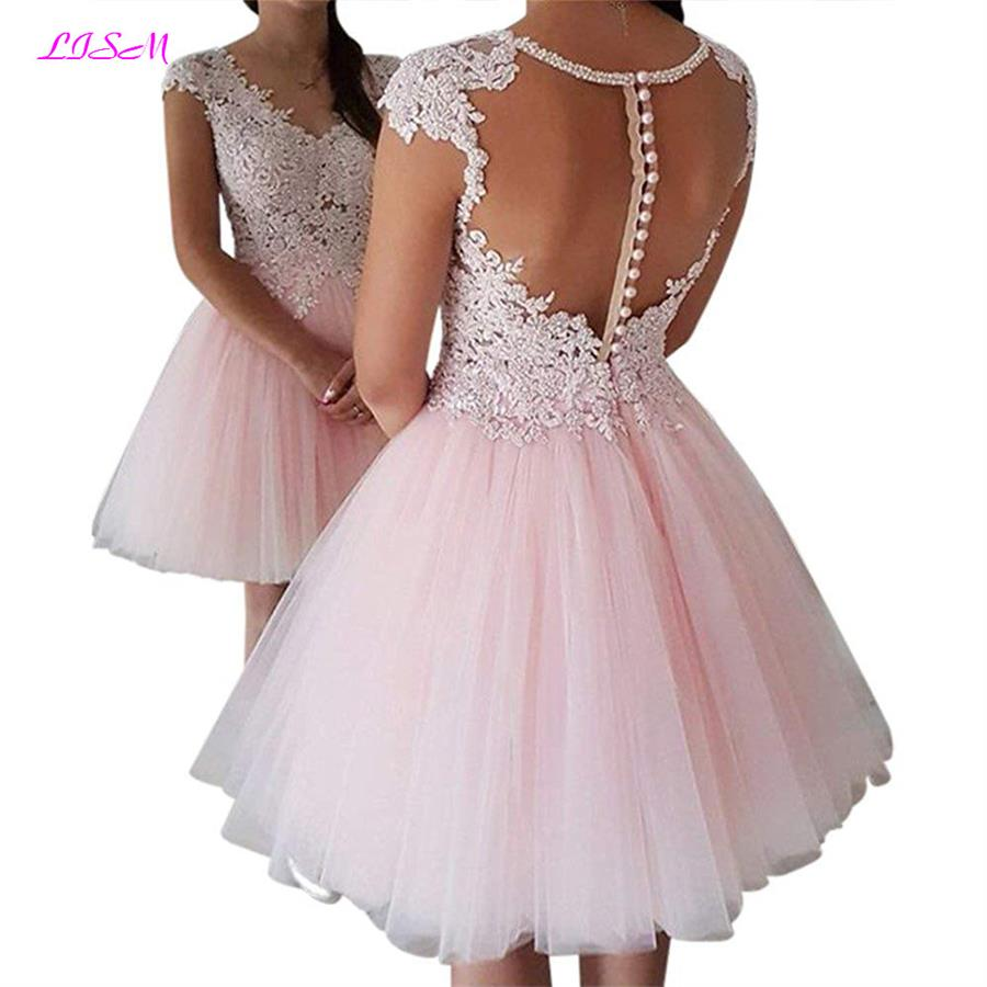 Pink V-Neck Illusion Back Short Homecoming Dress Vestido Festa Curto Bead Lace Appliques Prom Gown Cap Sleeve Tulle Formal Dress