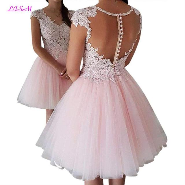 b36c9acc6b Pink V-Neck Illusion Back Short Homecoming Dress vestido festa curto Bead  Lace Appliques Prom Gown Cap Sleeve Tulle Formal Dress