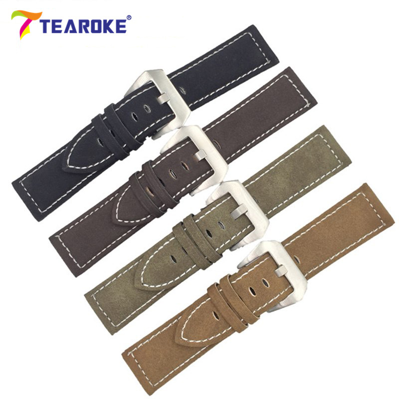 TEAROKE Handmade Matte Leather Watch Band Men Women 18mm 20mm 22mm 24mm Stainless Steel Buckle Strap for Panerai Watchband Brown