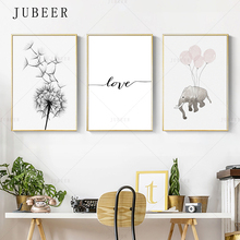 цены Nordic Minimalist Art Poster Dandelion Decoration Picture Elephant Wall Art Painting Modern Simple Style Canvas Print