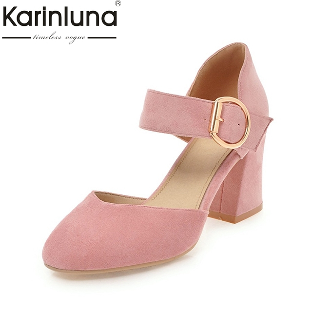11951df6fda7 Karinluna New Arrivals Plus Size 33-43 Slip On Summer Mary Janes Pumps  Women Shoes Sweet Square High Heels Date Shoes Woman