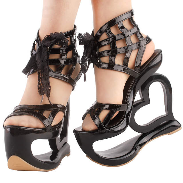 07c2d47a51 US $34.99 |LF40214 SHOW STORY Punk Black Spider Web Lace Up Heart Heel  Wedge Platform Club Sandals-in Women's Pumps from Shoes on Aliexpress.com |  ...