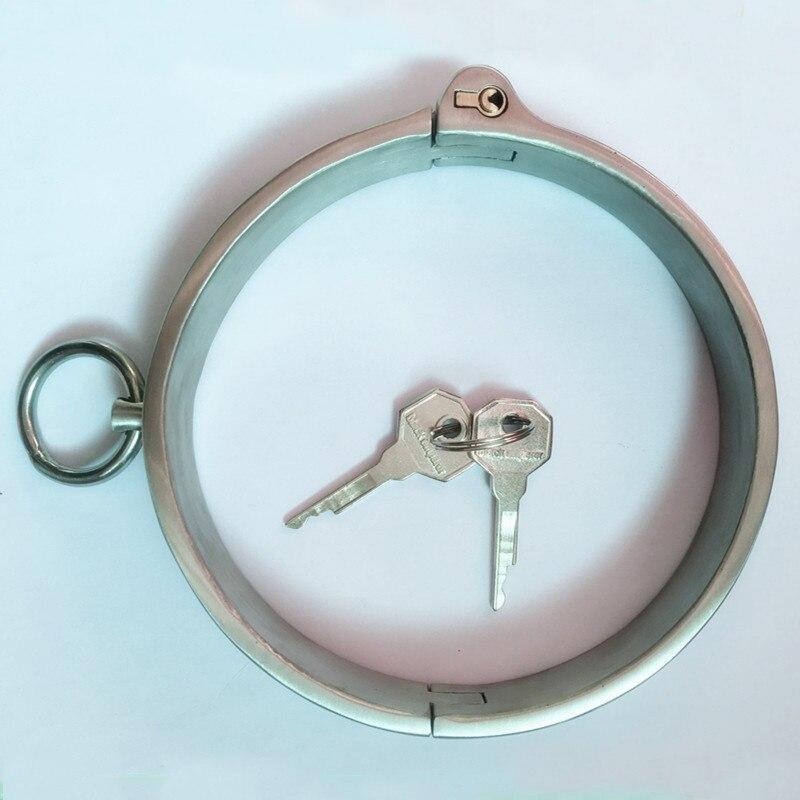 304 нержавеющая сталь запираемый ошейник раба для шеи БДСМ связывание сдержанность эротические SM взрослые игры секс игрушки для пар женщин м...