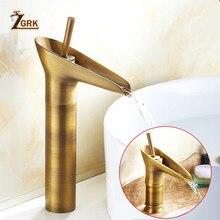 Clássico torneira da bacia estilo antigo cachoeira torneira do banheiro quente e fria torneira de bronze único furo tipo taça água