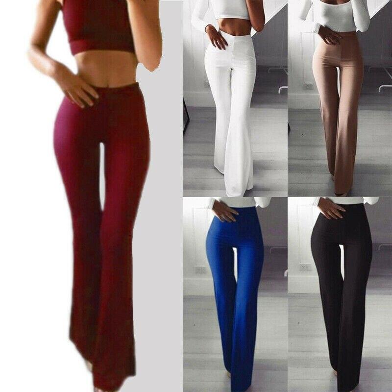 Calças femininas cintura alta, perna larga chique, ol botão, cáqui, preto e branco
