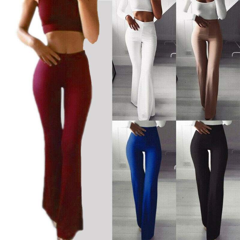 Women Solid High Waist Flare   Wide     Leg   Chic Trousers OL Bell Bottom   Pants   Khaki Black White