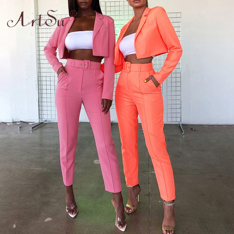 ArtSu 2019 Women Fashion Autumn Two Piece Set Pink Orange Yellow Short Jacket And Pencil Pants Party Blazer Suits Streetwear