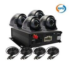 Бесплатная Доставка 4-КАНАЛЬНЫЙ GPS G-sensor 128 ГБ SD Автомобильный Видеорегистратор Recorder Motion Detection + Металл Обратно Спереди Вид Сбоку Камеры Автомобиля