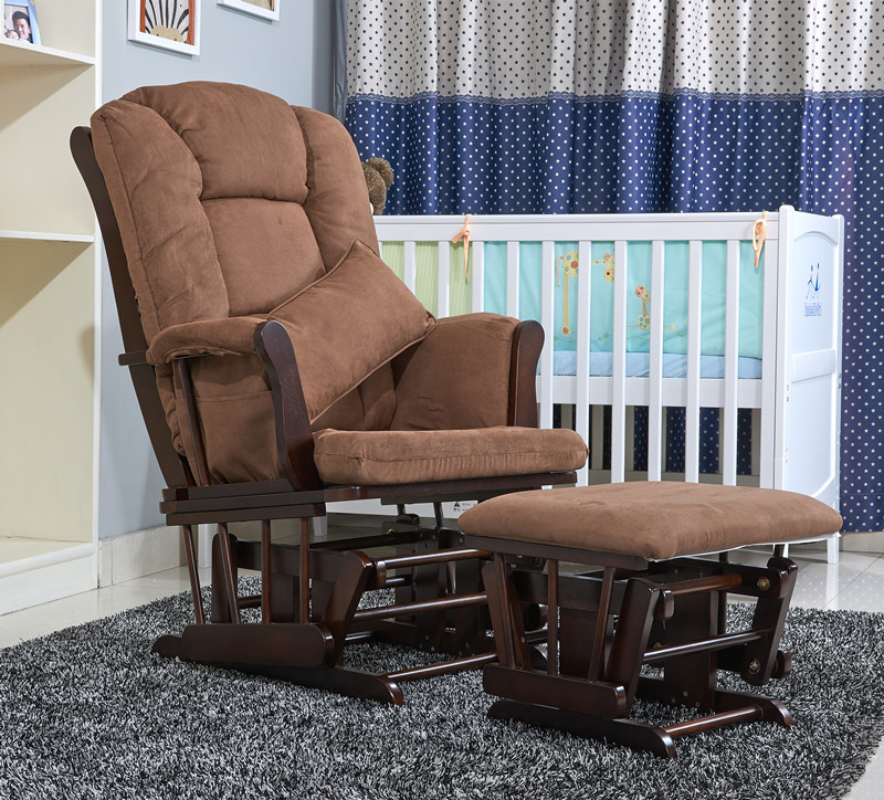 American Wood Rocking Chair Glider Rocker And Ottoman Set Living Room Furniture Luxury Comfortable Sliding