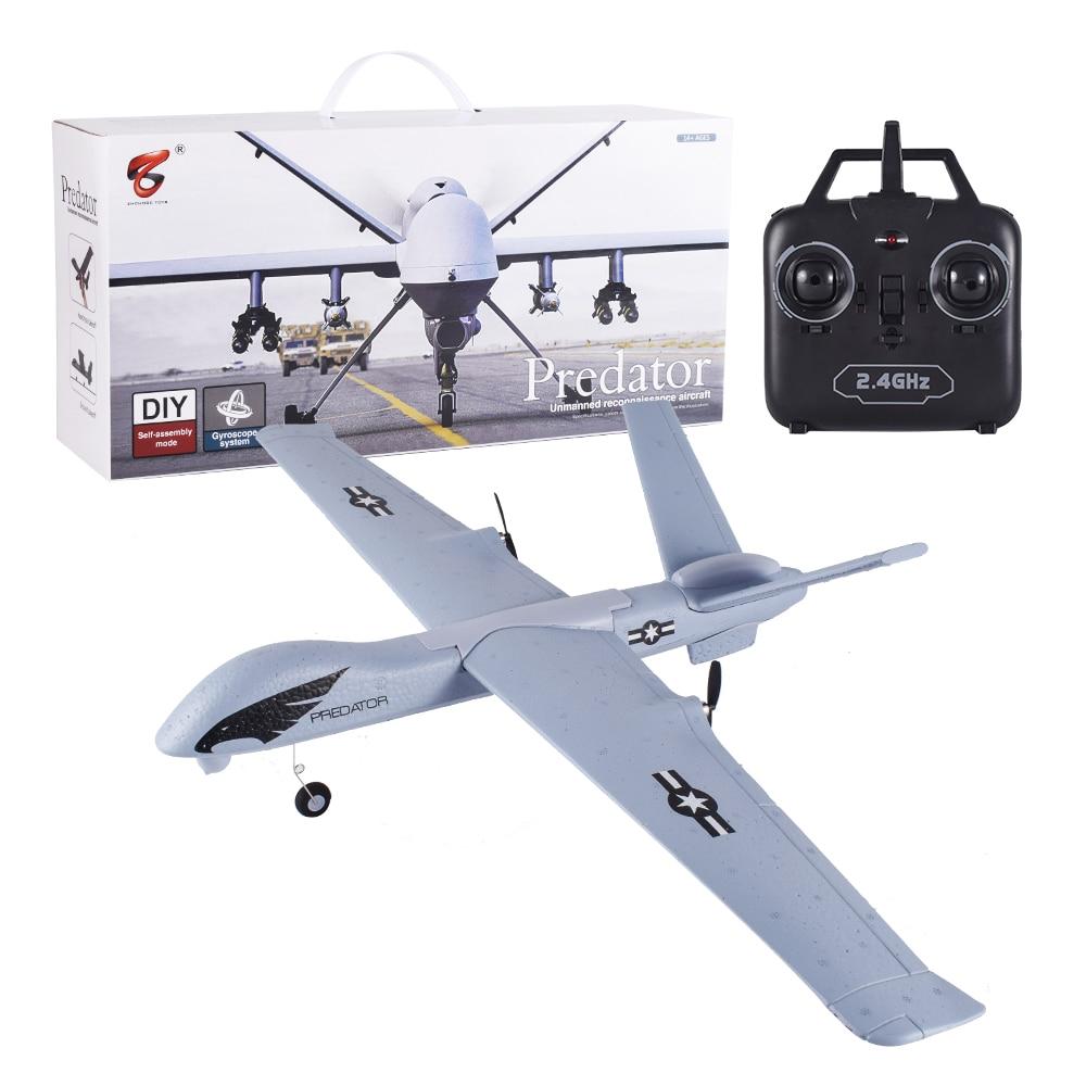 Flying Model Gliders RC Plane 2.4G 2CH Predator Z51 Remote Control RC Airplane Wingspan Foam Hand Throwing Glider Toy Planes()