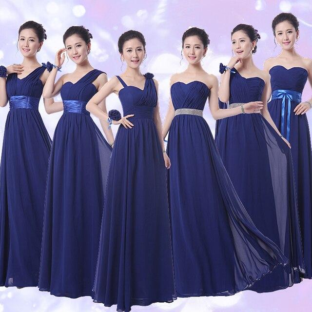 Plus size Navy blue long A-line bridesmaid dresses 2016 new chiffon one  shoulder flowers dresses a16fefb042