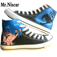 Anime Fairy Tail Couple Breathable Shoes Hand Painted Canvas Shoes Mens Womens Cartoon Character Catoon Graffiti Flat Shoe