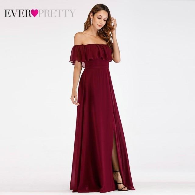 Prom Dresses Long Ever Pretty Elegant Off-shoulder A-line Leg Slit Wedding Guest Dresses Sexy Purple Chiffon Long Party Gowns 4