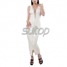 Suitop white latex rubber long dress lace up with zip