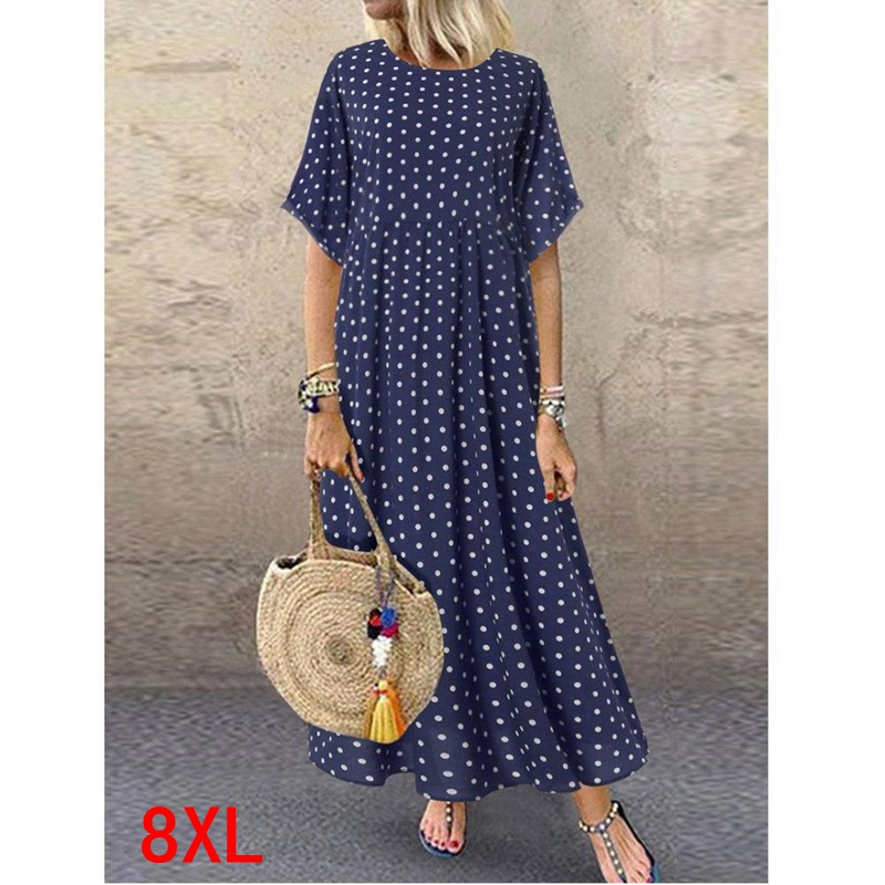 Large <font><b>size</b></font> women's <font><b>dress</b></font> <font><b>plus</b></font> <font><b>size</b></font> 4XL 5XL 7XL <font><b>8XL</b></font> summer elegant round neck short sleeve loose large <font><b>size</b></font> wave point blue robe image