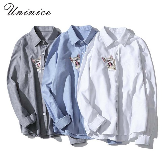 Cat Embroidered Oxford Long Sleeved Plus Size 5XL Shirt Electricity  Supplier Autumn Spring Men's Office Shirts