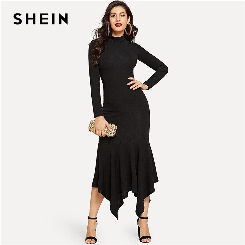 47a647305911 SHEIN Black Mock-Neck Hanky Hem Solid Ruffle Hem Asymmetrical Dress Solid  Dress Drop Waist