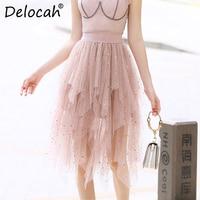 Delocah Spring Summer Women Skirt Runway Fashion Designer Sweet Pentagram Printed Slim Modern Casual Asymmetrical Ladys Skirts