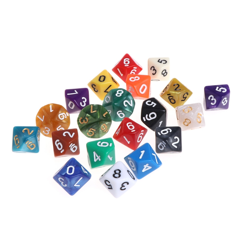 20pcs Multicolor Acrylic Cube Dice Beads multiaspect Portable Table Games Toy #2017W