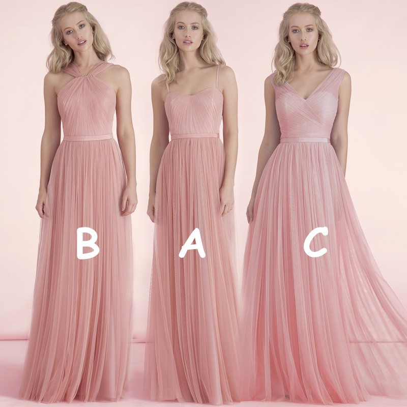 Free shipping cheap formal 3 styles nude pink blush for Maid of honor wedding dress
