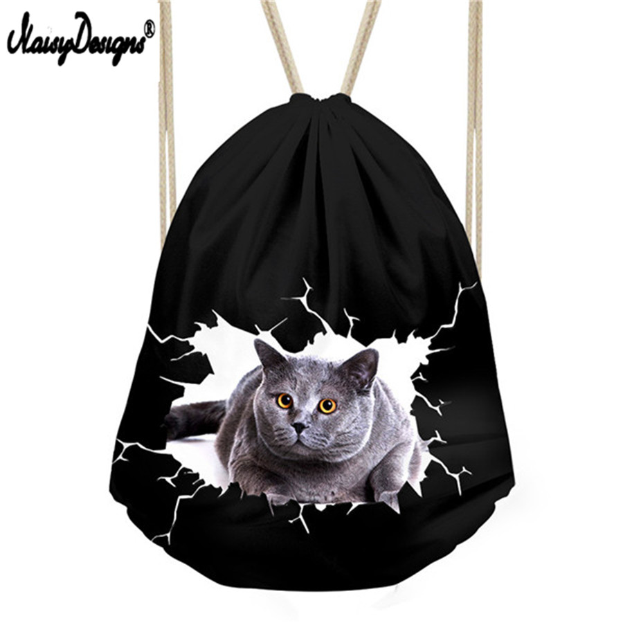 Kids Small Draw String Black Bag Girls School Bags Women Cute Animal Cat Print Drawstring Bag Cinch Backpack Stoage Package Bag