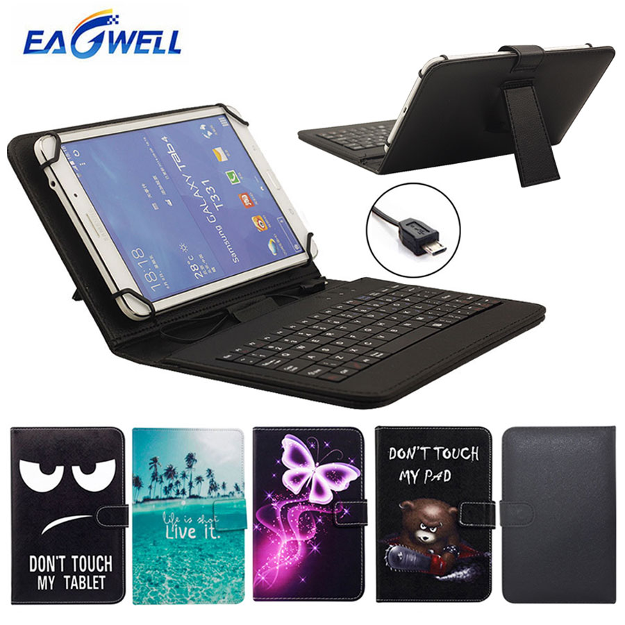 Tablet Case With Micro USB Keyboard 9.6 10 10.1 inch for Huawei MediaPad T3 T2 T1 Link M2 Printed Stand Cover
