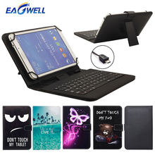 Tablet Case With Micro USB Keyboard 9.6 10 10.1 inch for Huawei MediaPad T3 T2 T1 10 Link M2 Printed Stand Cover Keyboard Case(China)