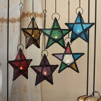 Stunning Star Glass Votive Tea Light Candle Holder Rustick Hanging Lighting Lantern Wedding Birthday Party Decoration