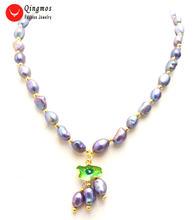 Qingmos ожерелье из натурального жемчуга для женщин ювелирные