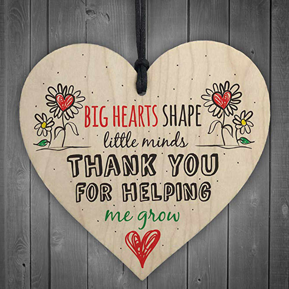 """Thank You For Helping Me Grow"" Wooden Love Heart Hanging Pendant Plaque Teacher Leaving Gift Nursery Wooden Plaque Decor #YJ"