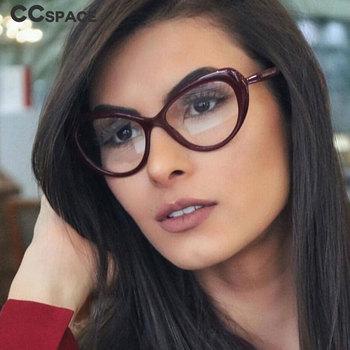 45736 kocie oko owalne ramki okularów mężczyźni kobiety modne style optyczne modne okulary komputerowe tanie i dobre opinie CCspace Unisex Plastikowe tytanu Stałe