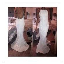Wunderbare Nixe Oansatz Sleeveless Sweep Zug Backless Abendkleid Mit Perlen Und Kristall White Satin Abendkleider