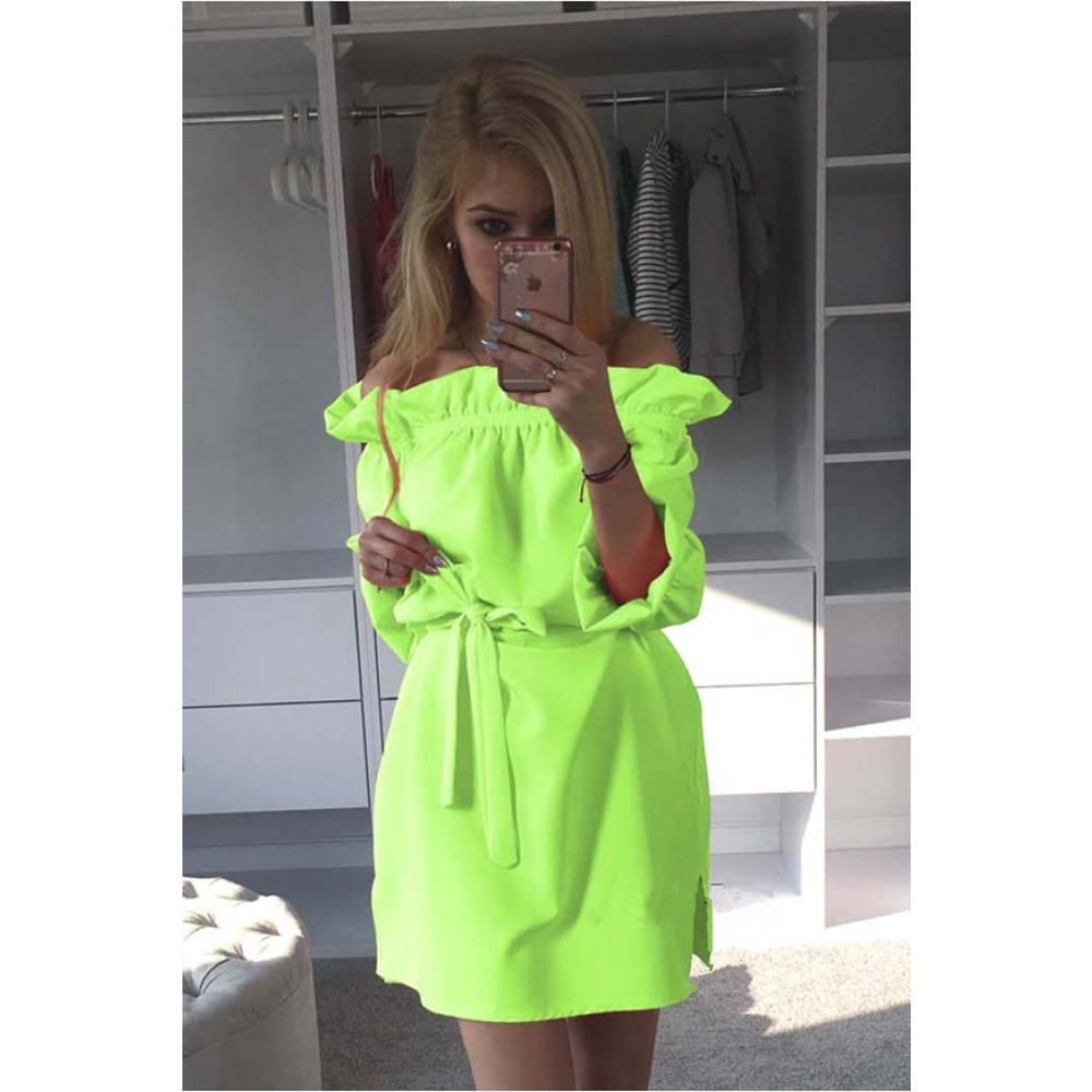 Spot Women Sexy Dress Slash Neck Strapless Loose Women S Casual Dress Hot 2017 Summer Candy