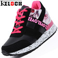 KELOCH Winter Autumn Height Increasing Shoes PU Leather Women Casual Shoes Fashion Breathable Height Lace-Up Heighten Shoes