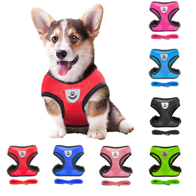 New Air Mesh Breathable Nylon Dog Harness With Leash Set 6 Colors Plus Size Vest Chest Strap For