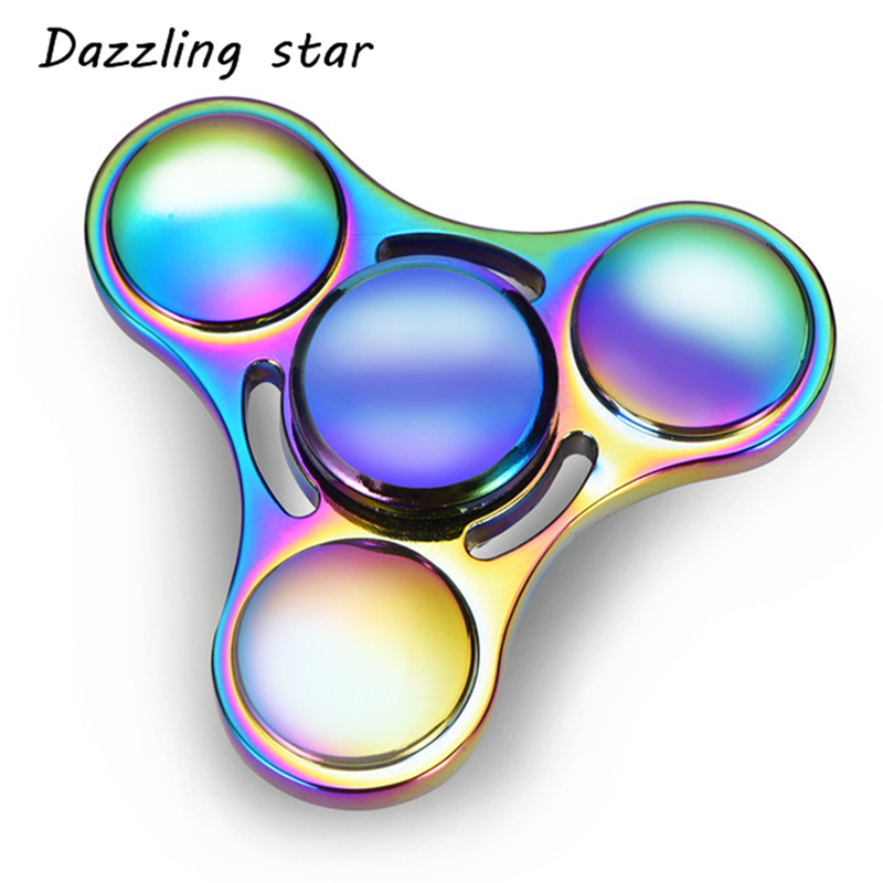 Rainbow Heptagonal Hand Spinner Fidget Zinc Alloy Metal Fidget Spinner Metal Bearing Edc Finger Spinner Hand Relieves Stress F39