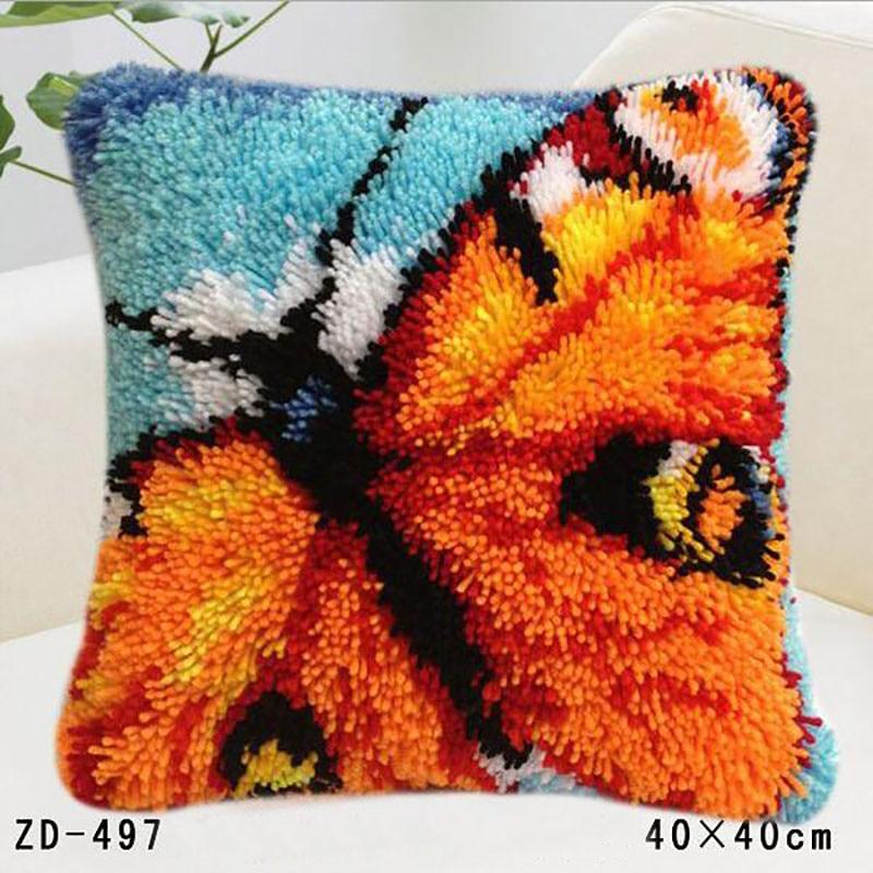 Embroidery Pillowcase Latch Hook Rug Kits Handwerken Knooppakket Pillow Tapestry Craft Cushion Kit Erflies