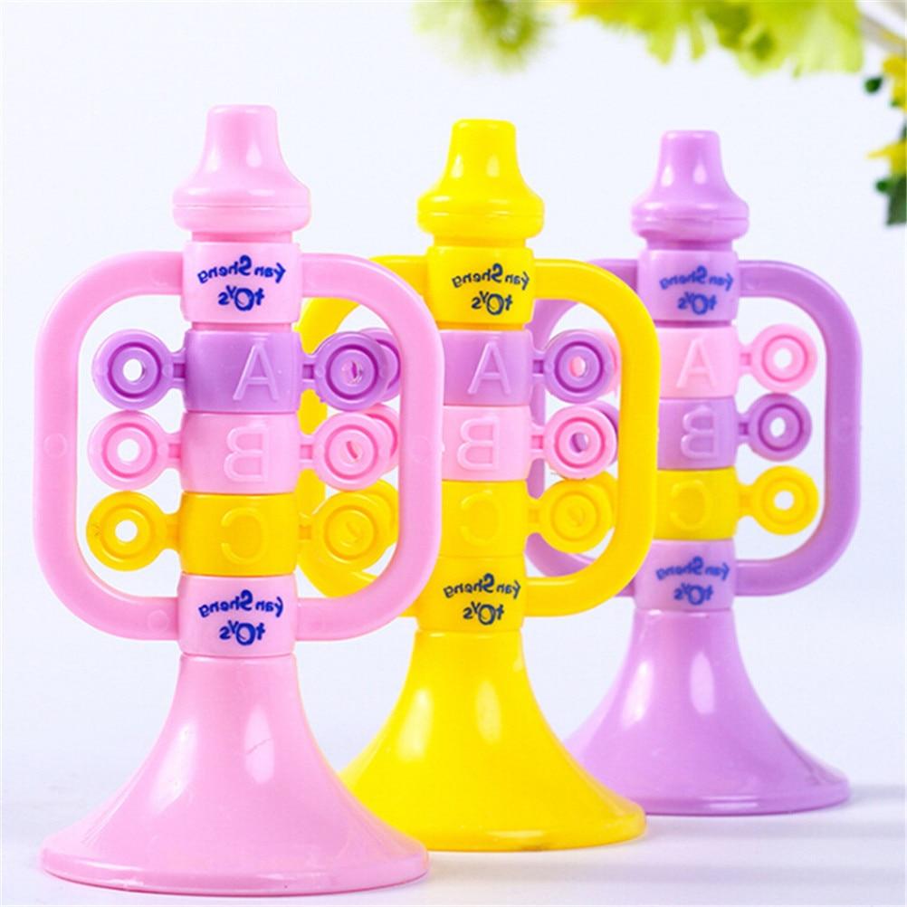 Cute Plastic Colorful Trumpet Speaker Musical Instruments Educational Letter Number Bugl ...