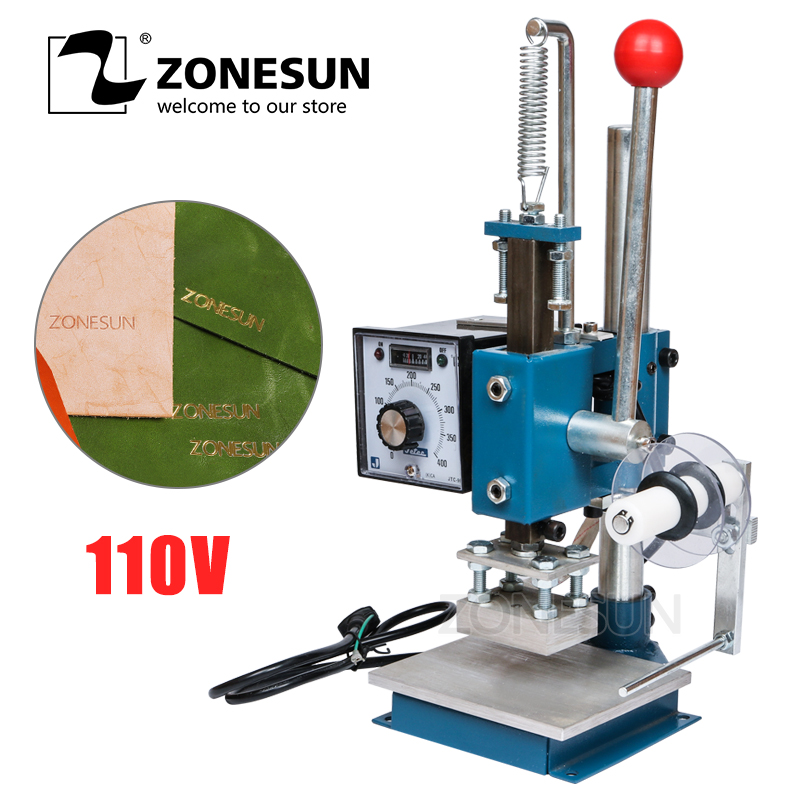 ZONESUN 110V MANUAL HOT PRESS FOIL STAMPING MACHINE STAMP MACHINE FOR PVC WOOD PAPER LEATHER HOT FOIL STAMPER PRINTEING MACHINE 2017 african wholesale round silver plated rhinestone with square shape earrings jewellery sets for women