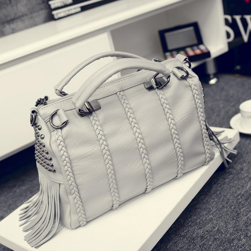 ФОТО 2016 women's handbag fashion tassel for BOSS handbag rivet knitted casual shoulder bag messenger bag
